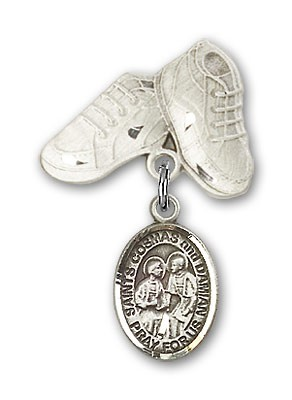 Baby Badge with Sts. Cosmas & Damian Charm and Baby Boots Pin - Silver tone