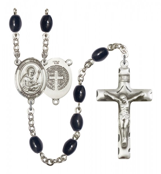 Men's Our Lady of Mount Carmel Silver Plated Rosary - Black Oval
