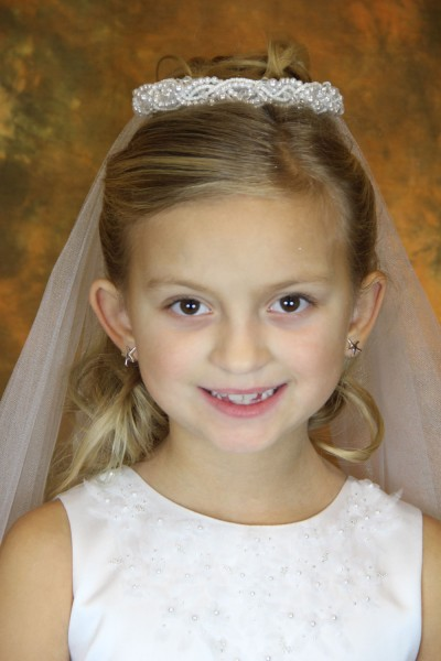 First Communion Veil with Pearl Wreath Bun Wrap - White
