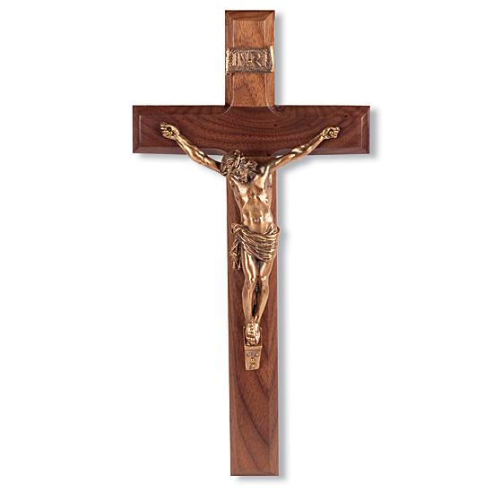 Gold-Tone Corpus with Bowed Head Walnut Wall Crucifix - 12 inch - Brown