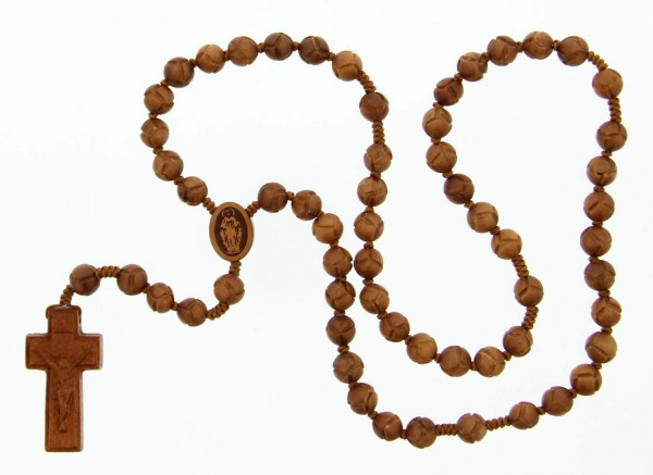 Jujube Wood 5 Decade Rosary - 10mm - Light Brown