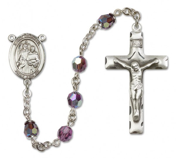 St. Raphael the Archangel Sterling Silver Heirloom Rosary Squared Crucifix - Amethyst