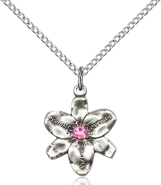 Small Five Petal Chastity Pendant with Birthstone Center - Rose