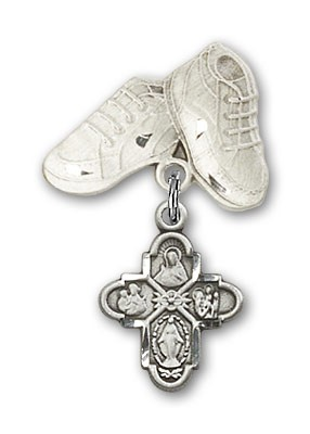 Baby Badge with 4-Way Charm and Baby Boots Pin - Silver tone