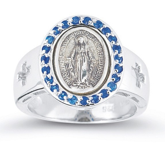 Women's Sapphire Crystal Miraculous Medal Ring Sterling Silver - Silver | Blue