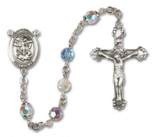 St. Michael the Archangel Sterling Silver Heirloom Rosary Fancy Crucifix - Multi-Color