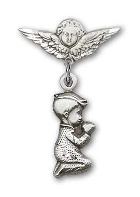 Baby Pin with Praying Boy Charm and Angel with Smaller Wings Badge Pin - Silver tone