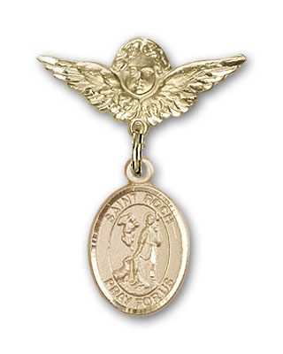 Pin Badge with St. Roch Charm and Angel with Smaller Wings Badge Pin - 14K Solid Gold