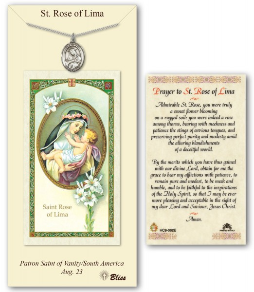St. Rose of Lima Medal in Pewter with Prayer Card - Silver tone