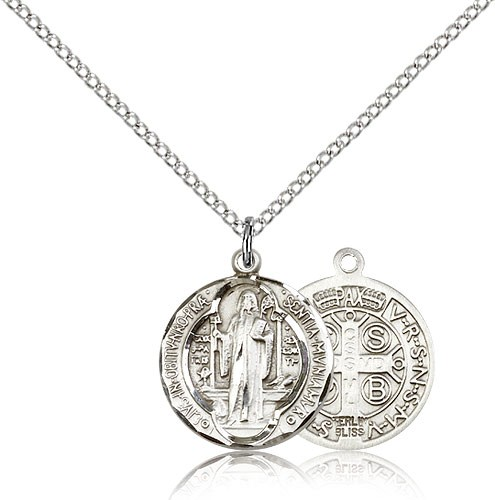 Round St. Benedict Medallion - 3 sizes available - Sterling Silver