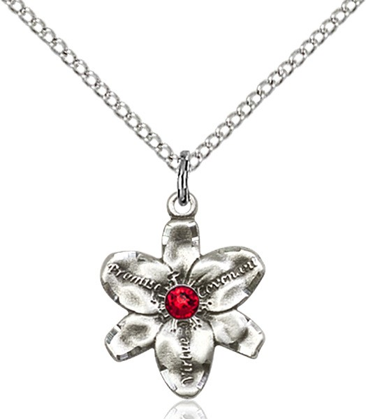 Small Five Petal Chastity Pendant with Birthstone Center - Ruby Red