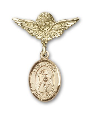 Pin Badge with St. Louise de Marillac Charm and Angel with Smaller Wings Badge Pin - 14K Solid Gold