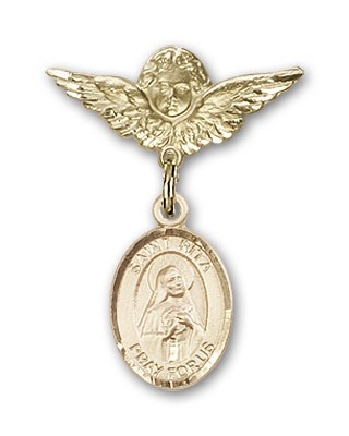 Pin Badge with St. Rita of Cascia Charm and Angel with Smaller Wings Badge Pin - Gold Tone