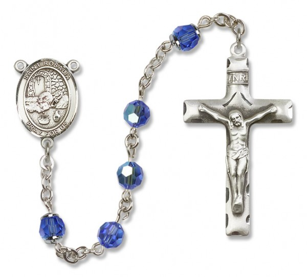 St. Rosalia Sterling Silver Heirloom Rosary Squared Crucifix - Sapphire