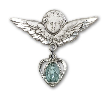 Pin Badge with Miraculous Charm and Angel with Larger Wings Badge Pin - Silver | Blue