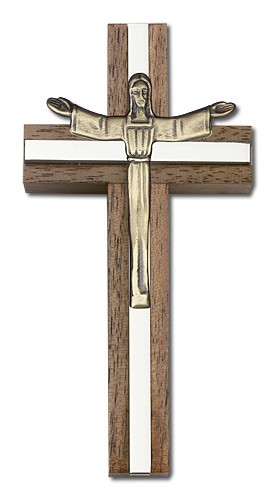 "Contemporary Risen Christ Wall Cross in Walnut and Metal Inlay 4"" - Two-Tone Silver"
