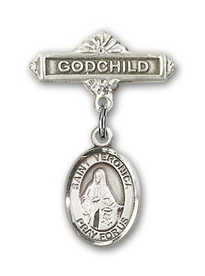 Pin Badge with St. Veronica Charm and Godchild Badge Pin - Silver tone