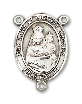 Our Lady of Prompt Succor Rosary Centerpiece Sterling Silver or Pewter - Sterling Silver