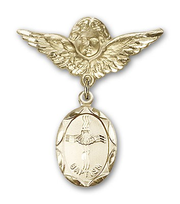Baby Pin with Baptism Charm and Angel with Larger Wings Badge Pin - 14K Yellow Gold