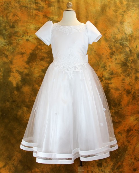 Plus Size First Communion Dress in Satin and Tulle - White