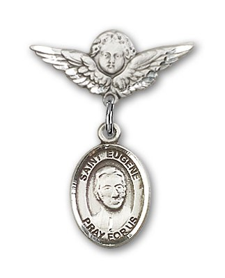 Pin Badge with St. Eugene de Mazenod Charm and Angel with Smaller Wings Badge Pin - Silver tone