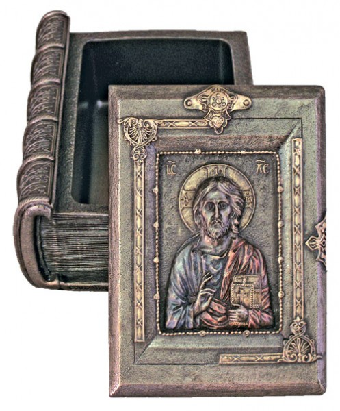 Christ the Teacher Keepsake Box in Bronzed Resin - Multi-Color