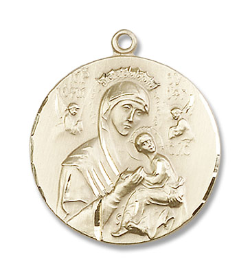 Round Our Lady of Perpetual Help Pendant - 14K Solid Gold