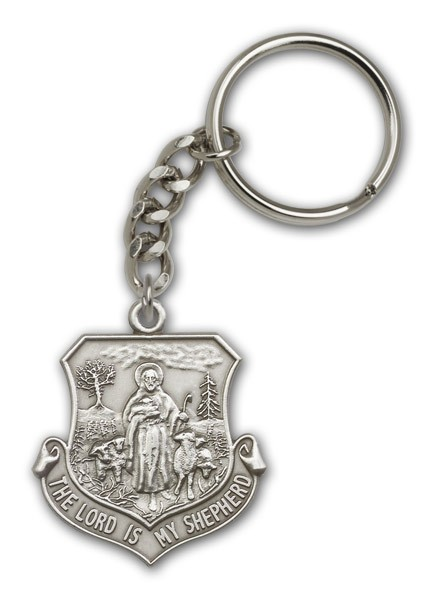 Lord Is My Shepherd Keychain - Antique Silver