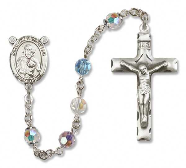 St. James the Lesser Sterling Silver Heirloom Rosary Squared Crucifix - Multi-Color