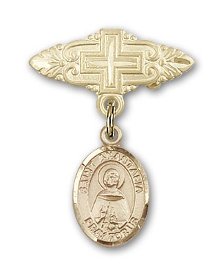 Pin Badge with St. Anastasia Charm and Badge Pin with Cross - Gold Tone