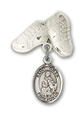 Pin Badge with St. Giles Charm and Baby Boots Pin - Silver tone