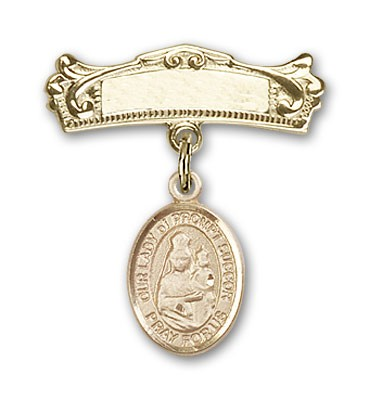 Pin Badge with Our Lady of Prompt Succor Charm and Arched Polished Engravable Badge Pin - Gold Tone