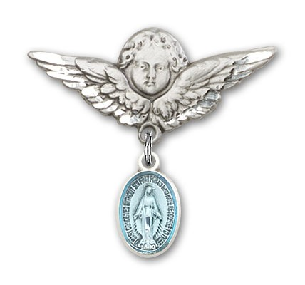 Baby Pin with Miraculous Charm and Angel with Larger Wings Badge Pin - Silver | Blue