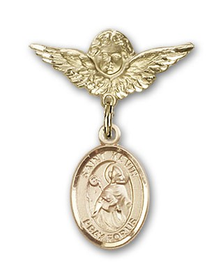 Pin Badge with St. Kevin Charm and Angel with Smaller Wings Badge Pin - 14K Yellow Gold