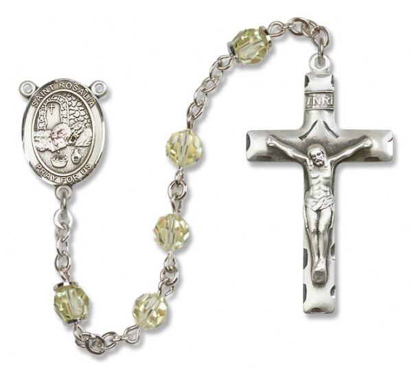 St. Rosalia Sterling Silver Heirloom Rosary Squared Crucifix - Jonquil