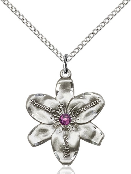 Large Five Petal Chastity Pendant with Birthstone Center - Amethyst