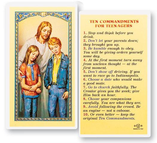Ten Commandments Teenagers Laminated Prayer Cards 25 Pack