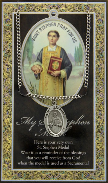 St. Stephen Medal in Pewter with Bi-Fold Prayer Card - Silver tone