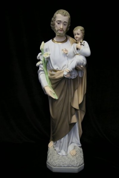 Saint Joseph with Child Statue Hand Painted - 33 inch - Multi-Color