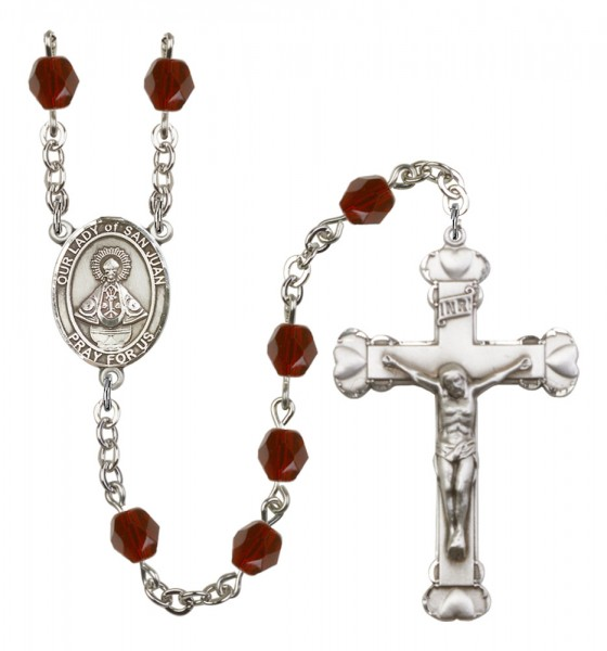 Women's Our Lady of San Juan Birthstone Rosary - Garnet
