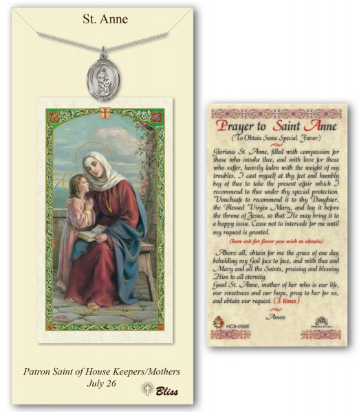 St. Anne Medal in Pewter with Prayer Card - Silver tone