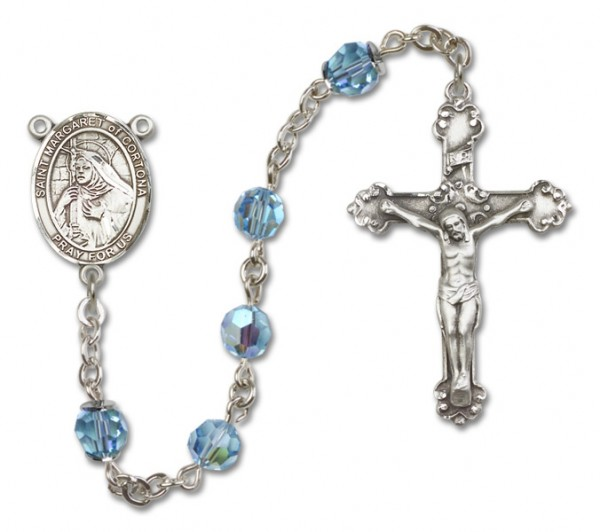St. Margaret of Cortona Sterling Silver Heirloom Rosary Fancy Crucifix - Aqua