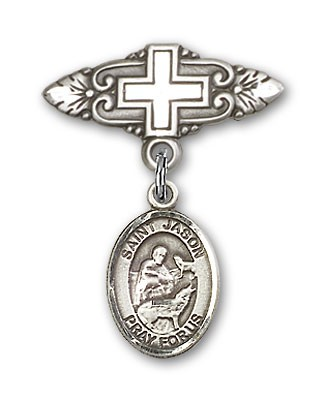 Pin Badge with St. Jason Charm and Badge Pin with Cross - Silver tone