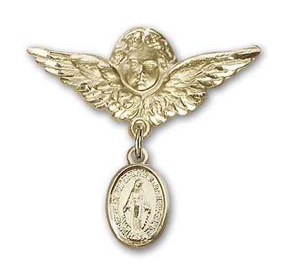 Baby Pin with Miraculous Charm and Angel with Larger Wings Badge Pin - Gold Tone