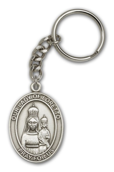 Our Lady of Loretto Keychain - Antique Silver