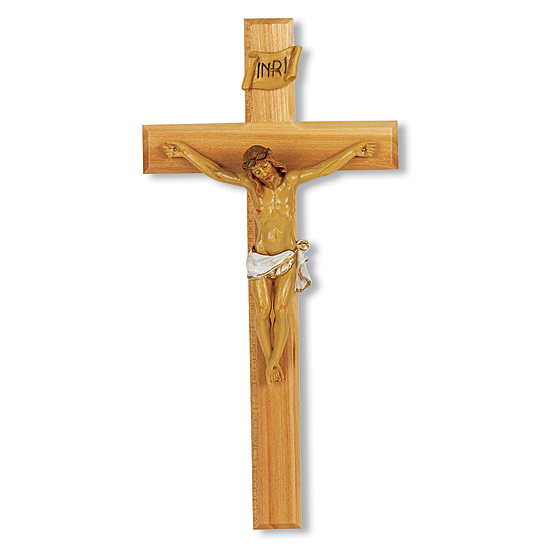Wide Crossbar Oak Crucifix with Hand-Painted Corpus - 13 inch - Brown