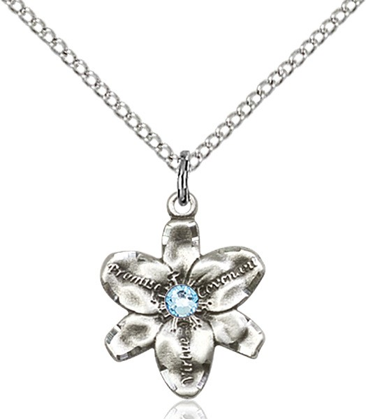 Small Five Petal Chastity Pendant with Birthstone Center - Aqua