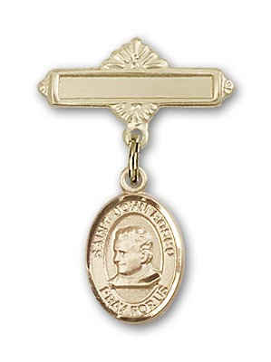 Pin Badge with St. John Bosco Charm and Polished Engravable Badge Pin - 14K Yellow Gold