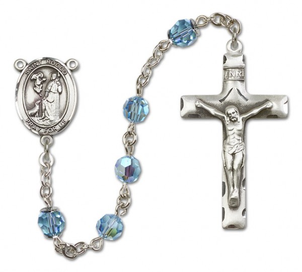 St. Rocco Sterling Silver Heirloom Rosary Squared Crucifix - Aqua