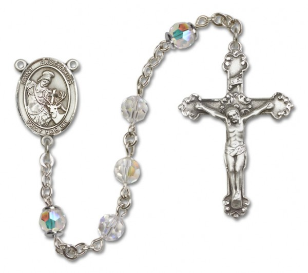 St. Eustachius Sterling Silver Heirloom Rosary Fancy Crucifix - Crystal